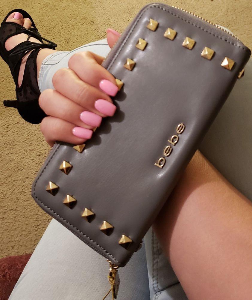 b4ac4597a5 Bebe Wallet grey Jane stud zip around coin credit card holder fits phone  gray #bebe #Bifold
