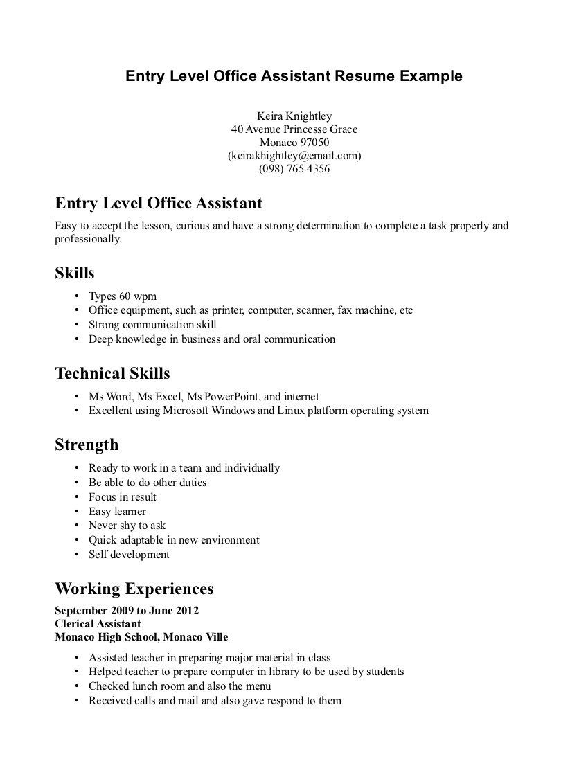 Entry Level Office Assistant Resume Best Resume Summary Exles Entry Level Sle Resume Entry Level Ideas .