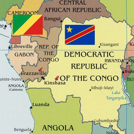 Map of Congo with Congolese flag ( Kinshasa & Brazzaville