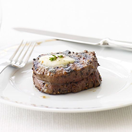 Peppered Beef Tenderloin with Roasted Garlic-Herb Butter // More Quick Grilling Recipes: http://www.foodandwine.com/slideshows/quick-grilling #foodandwine