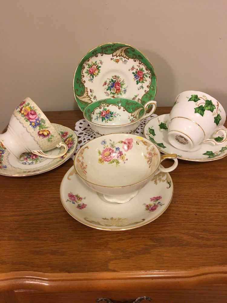 Lot Of 4 English Bone China Teacups Saucers Antiques Decorative Arts Ceramics Porcelain Ebay Tea Cups Porcelain Ceramics Bone China