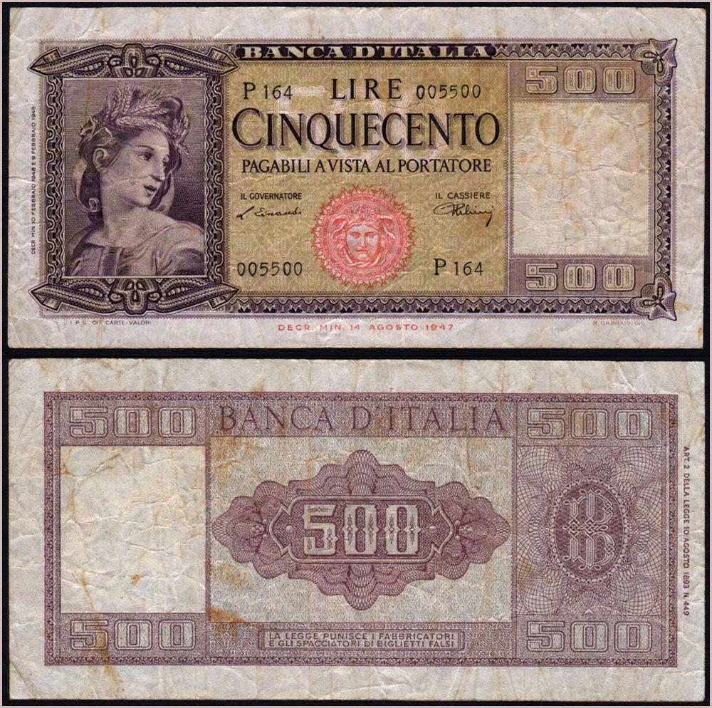 bafec8368a Collezione Personale di Banconote Italiane: 0.0.4. - 500 LIRE ORNATA ...