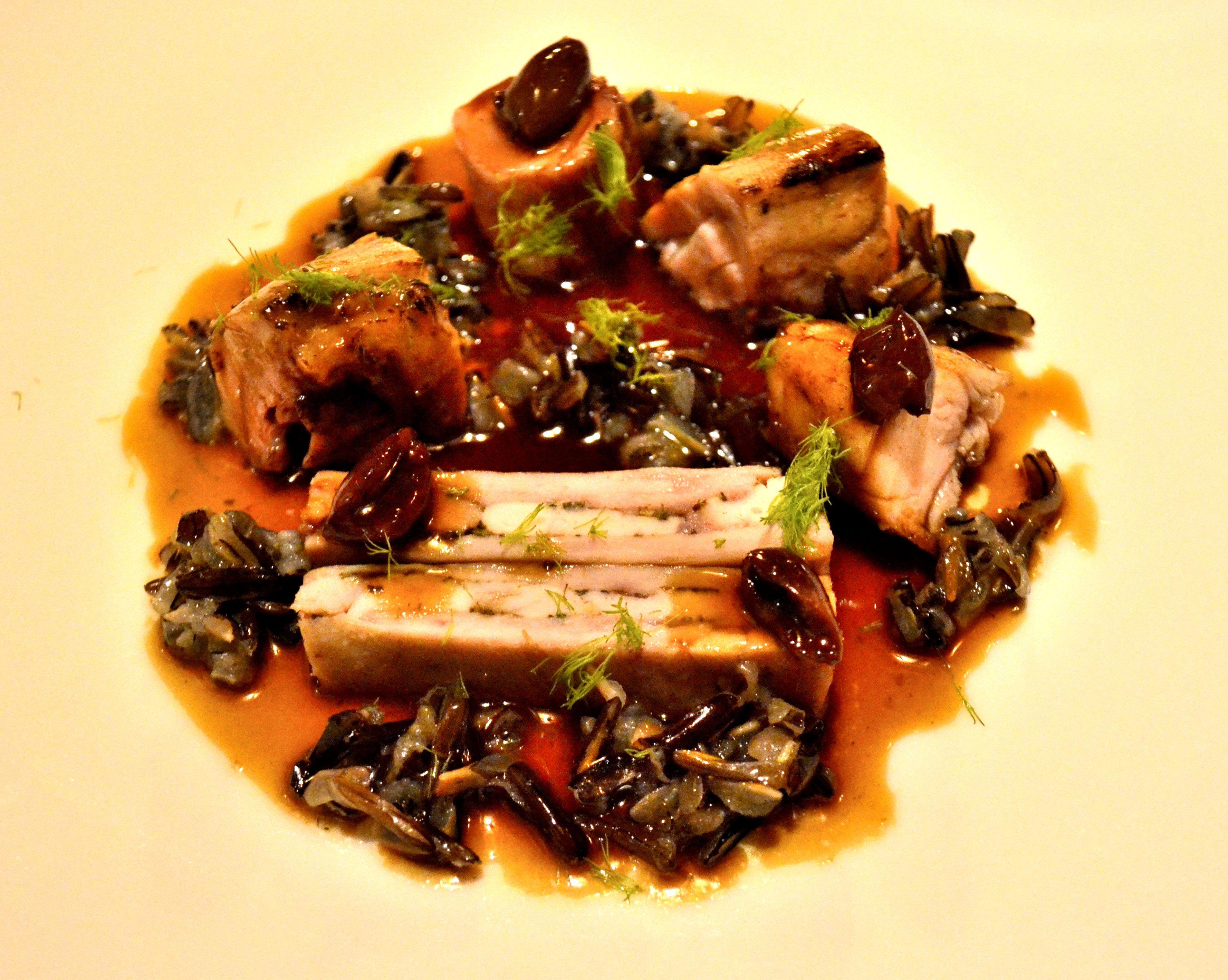 fricassea di coniglio del Bleggio, riso selvatico e salsa alla cacciatora