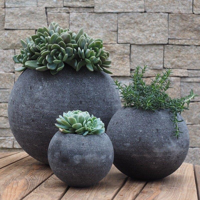lava stone circular plant pots gardening and living. Black Bedroom Furniture Sets. Home Design Ideas