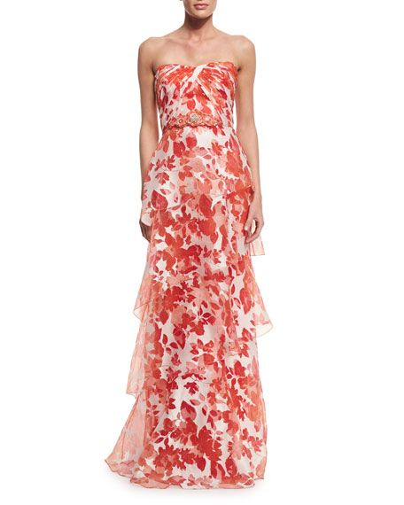 Floral strapless
