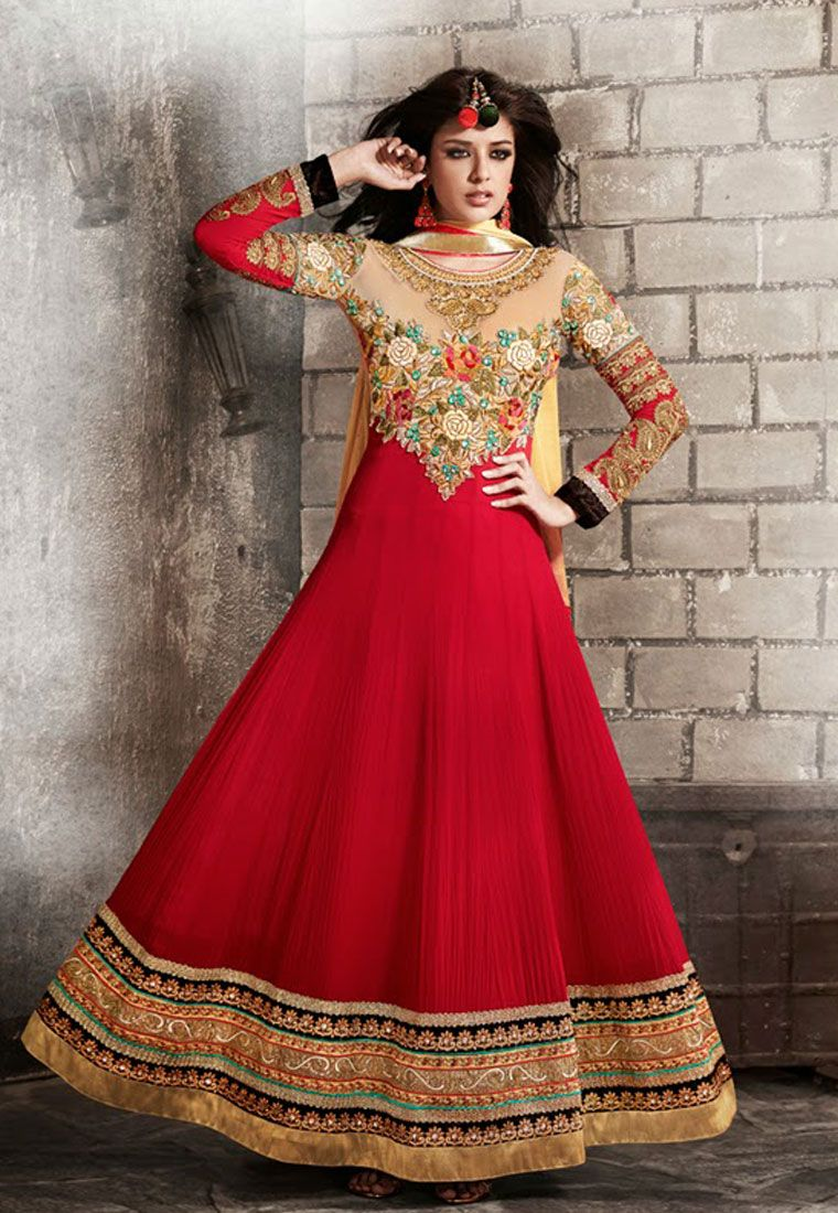 Red color georgettesantoon designer anarkali suit with pure chiffon