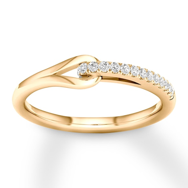Love Be Loved Diamond Ring 1 10 Ct Tw Round 10k Yellow Gold Kay In 2020 Gold Ring Designs Fashion Rings Antique Wedding Jewelry