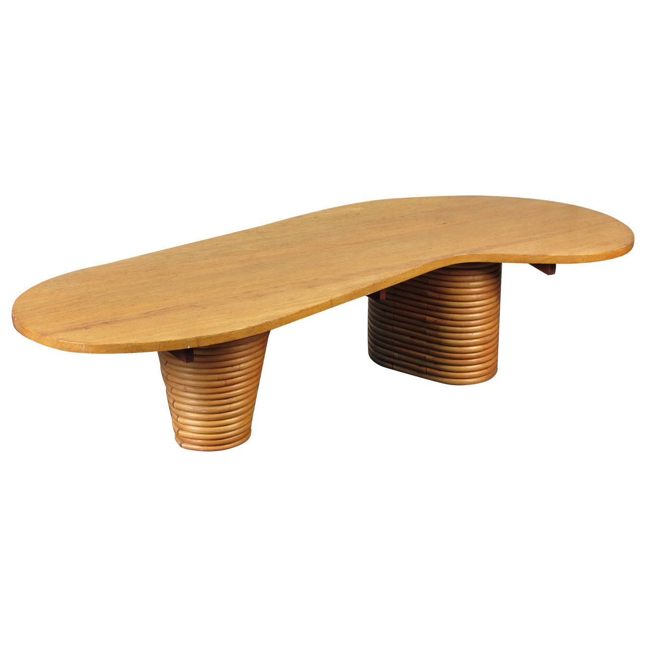 Rare Biomorphic Coffee Table with Rattan Base in the Style of Paul