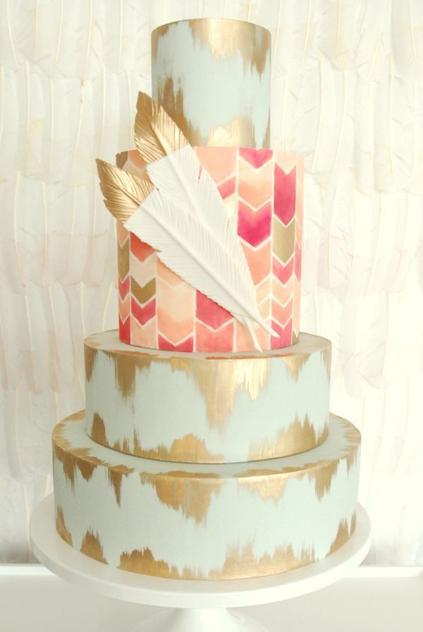 27 Eyepopping Painted Wedding Cakes For 2016 Paint chevron