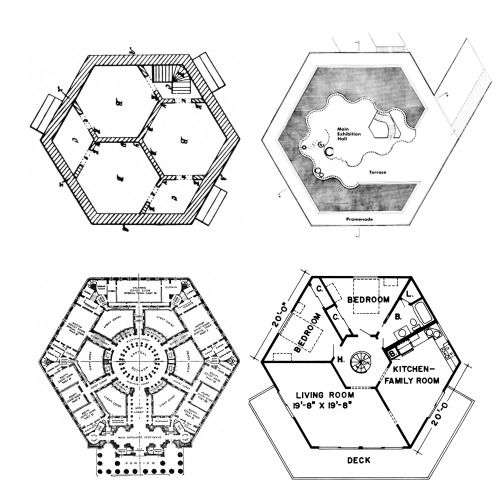 Hexagon plans from left to right harriet irwin hexagonal for Honeycomb house floor plan