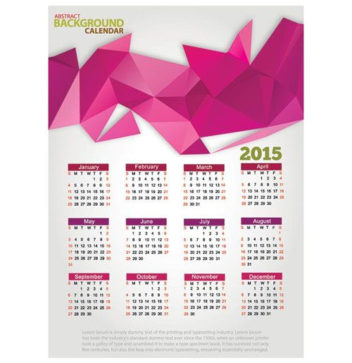 15 Free 2015 Vector Calendar Design Templates Vector Freebies