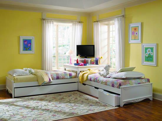 Haley Kids Bed Platform Bed Corner Unit In White By Lea