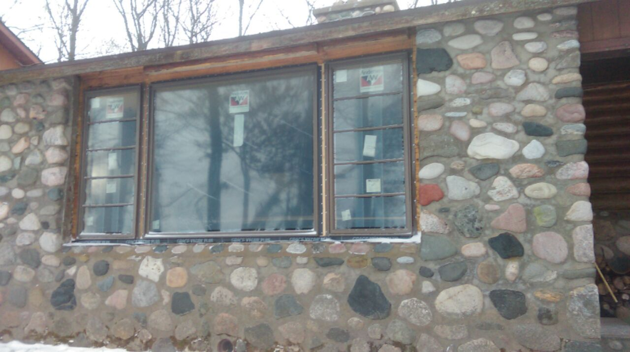 front of our cabin, new windows