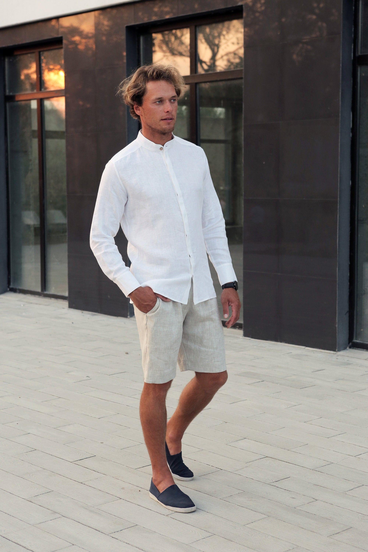 Mens Linen Shirt Dress Shirt White Shirt Wedding Linen Etsy Summer Outfits Men Stylish Summer Outfits Linen Shirt Men [ 3000 x 2000 Pixel ]
