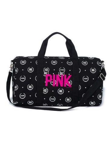 Victoria s Secret LOVE PINK Canvas Travel GYM Duffle Tote Luggage ... 870e99d68e59d
