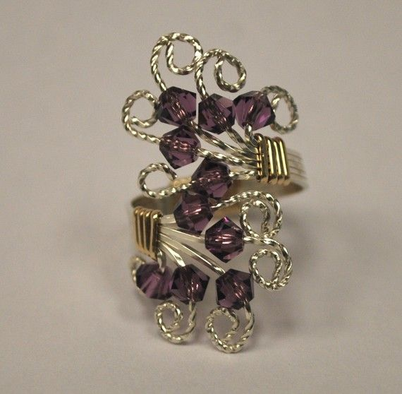 Gold, Silver and Purple Wire Wrapped Ring