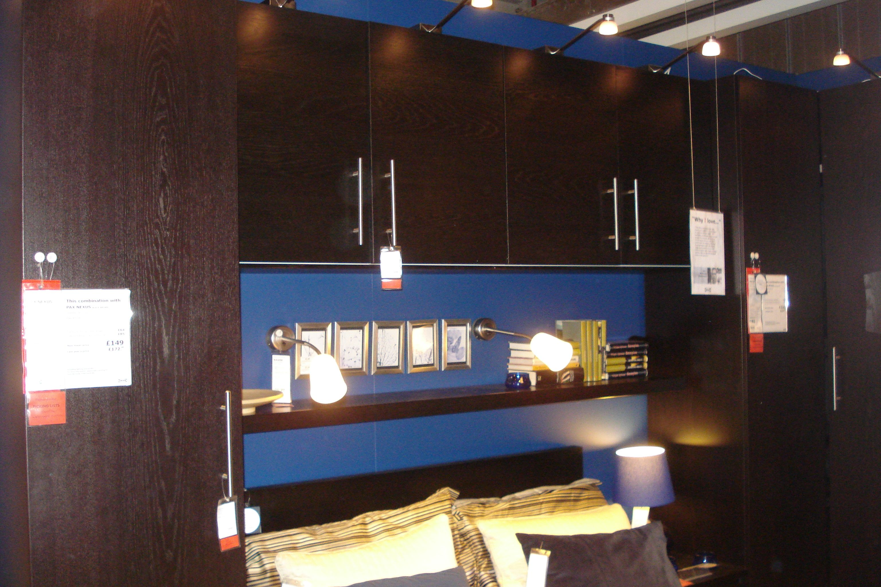 pax wardrobe lighting. Ikea Pax Wardrobes And Kitchen Units In Black Brown Up Over Bed. Wall Wardrobe Lighting 6