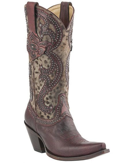 d11b33f6fb0 Lucchese 1883 Antique Red Cheetah Studded Cowgirl Boots - Snip Toe ...