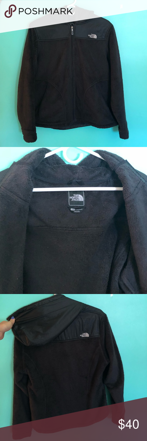 fuzzy face hood north Black with