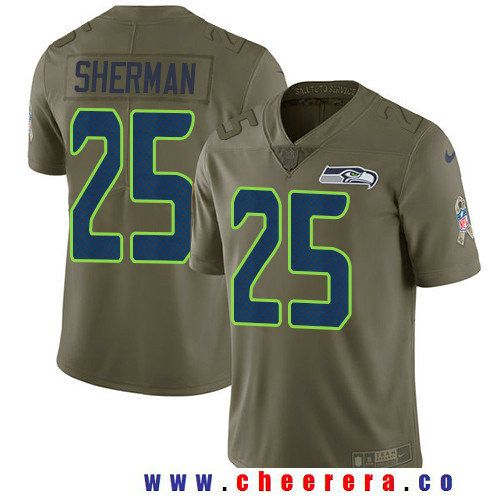 Men's Seattle Seahawks #25 Richard Sherman Olive 2017 Salute To Service  Stitched NFL Nike Limited
