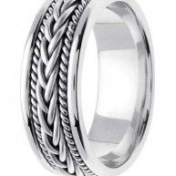 Finish: Polished. Finish: Satin. Style: For Him. Width (mm): 7mm. Style: Tag Rope. Gold Type: 14k White Gold. Size: 9.5.
