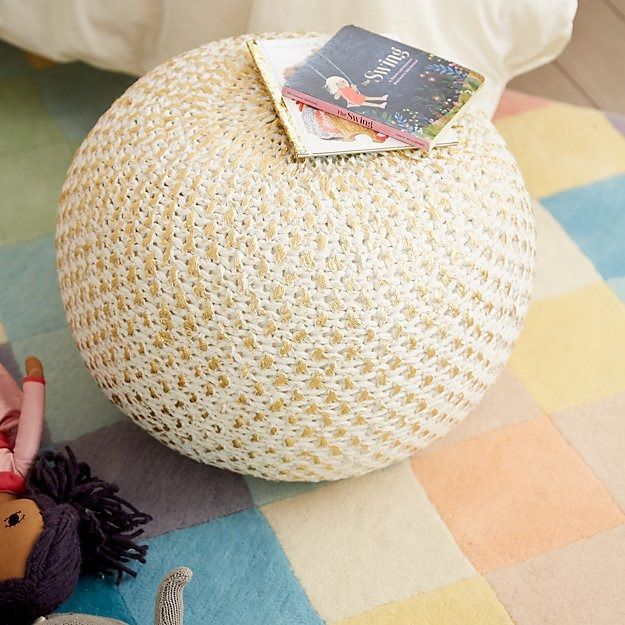 Knit Gold Pouf Pinterest Gold Pouf Playrooms And Kids Rooms New Land Of Nod Gold Pouf