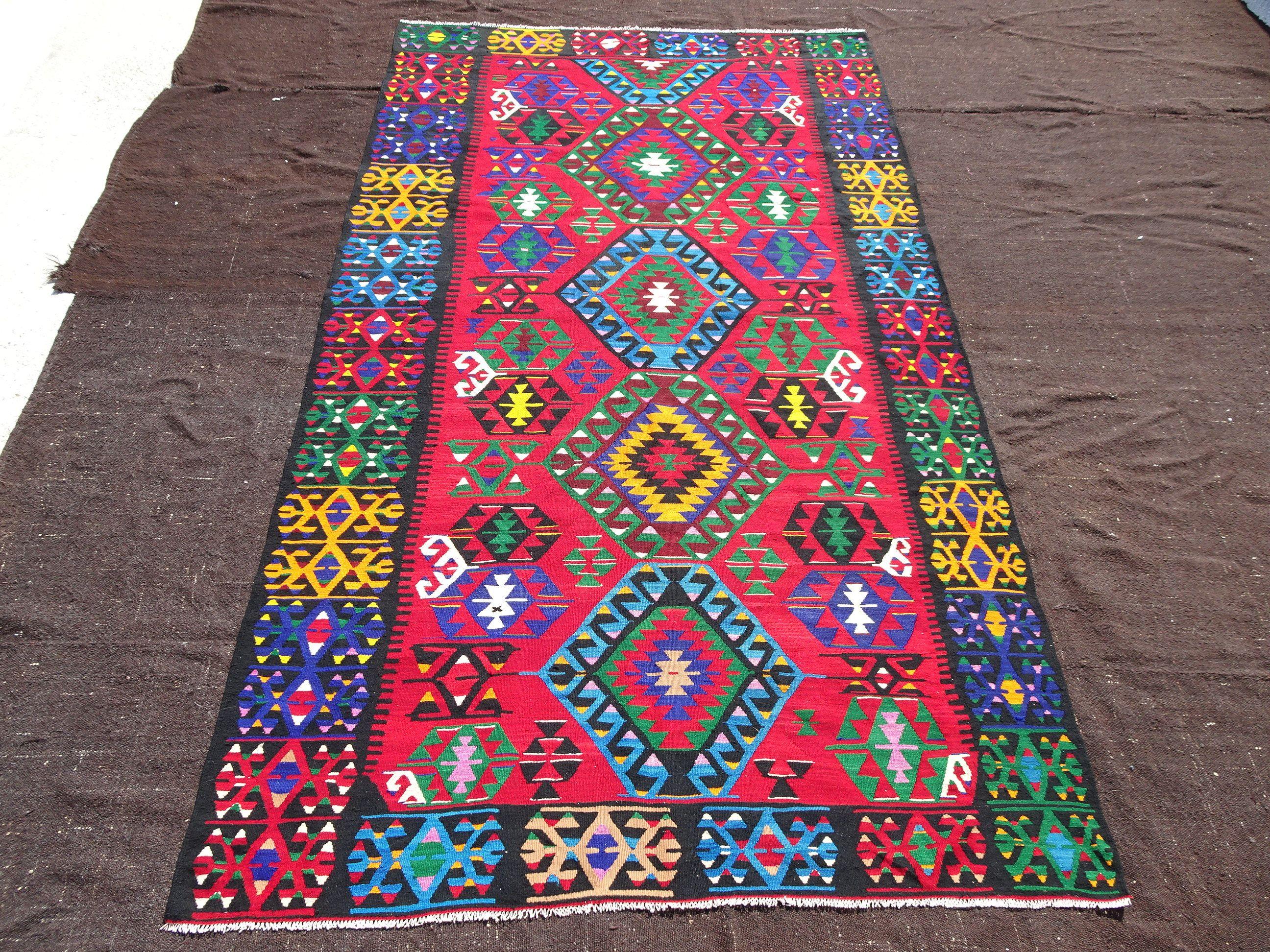 Colorful Turkish Rug 6 7 X10 11 Feet 200x332 Cm Vintage