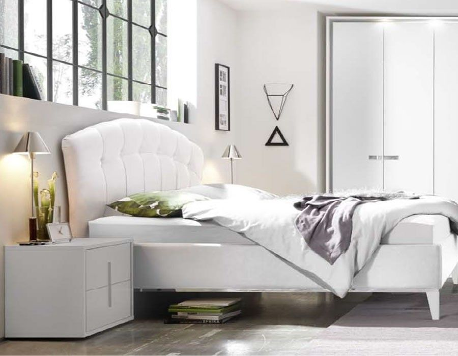 Chevet design blanc et chrom chambre adulte aliana chambre adulte design ou contemporaine - Mobilier chambre adulte complete design ...