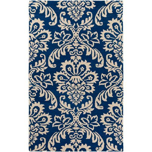 Rhodes Luna Navy and Off-White Rectangular: 5 Ft. x 8 Ft. Area Rug - (In No Image Available)