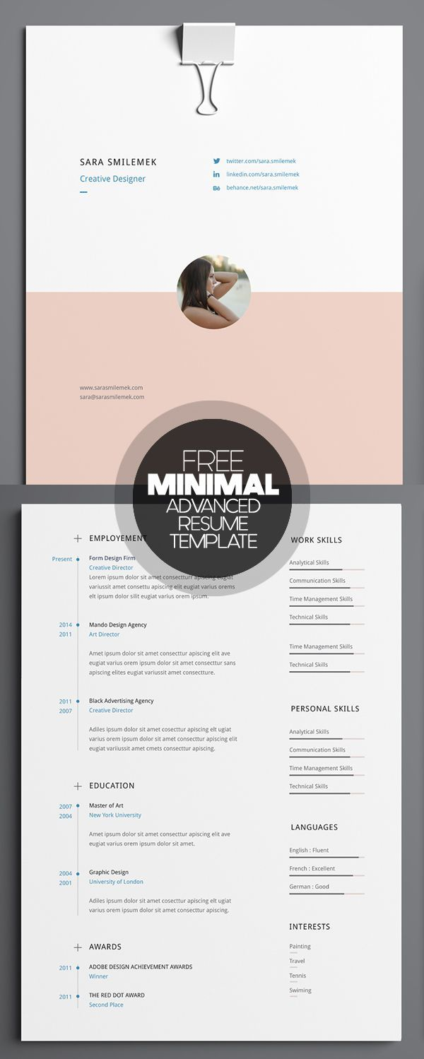 Free Minimal Advanced Resume Template More Free