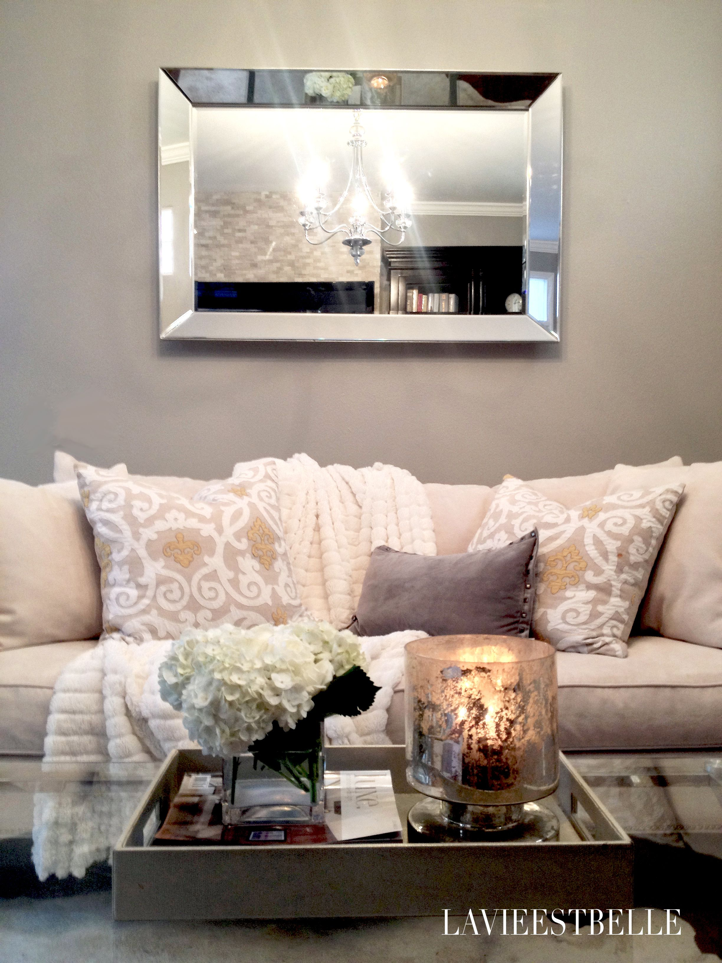 Glamorous gray living room I love the pillows and couch color