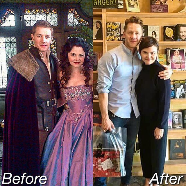 Tv Show vs. Real Life Aww my babies looks so fetus in the first picture when they just started ouat anyway they haven't aged!!!Now they are married and with two babies thanks to that show, Snow White and Prince Charming married in real life! What a fairytale ❤️ Happy 6th anniversary ouat!