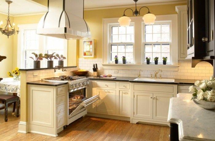 Küche Streichen Ideen Creme Küchenschränke Hellgelbe Wände