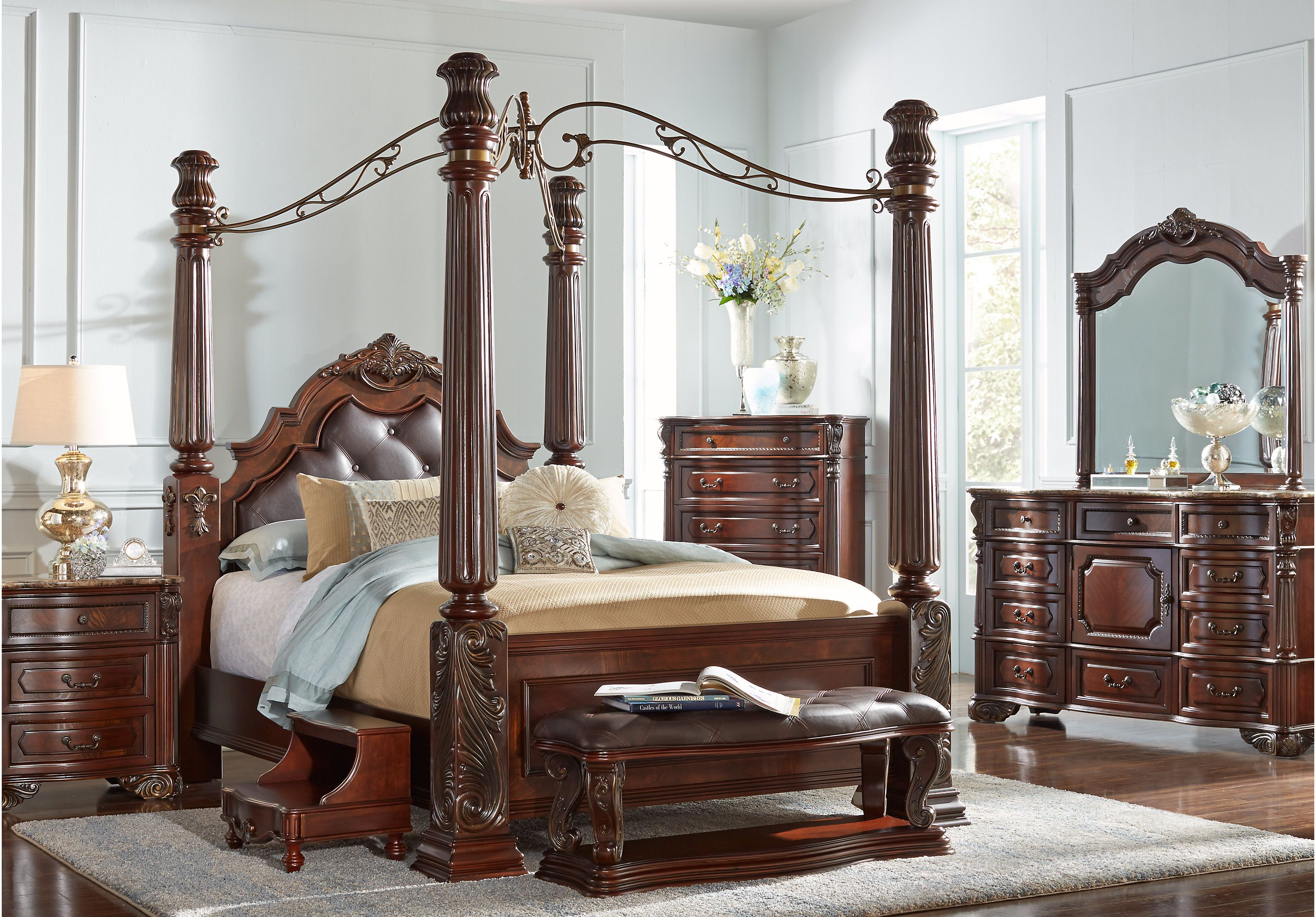 Southampton Walnut 6 Pc King Canopy Bedroom | Master room ...
