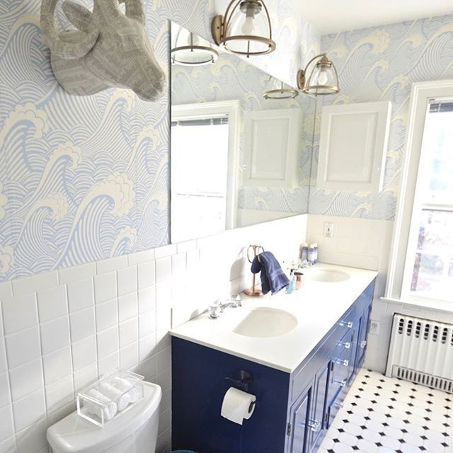 Love How Atcharlotteshouse Transformed Her Whole Bathroom With Just A Few Key Elements That Waves Of Blue Bathroom Interior Bathroom Wallpaper Toilet Remodel