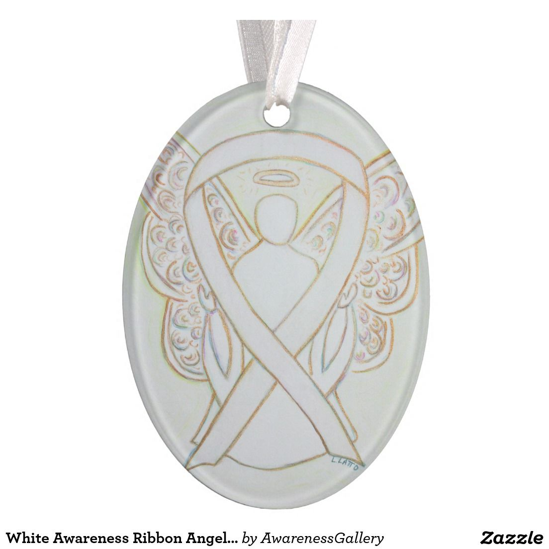 White Awareness Ribbon Angel Ornament Pendant White Awareness