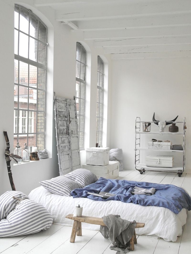 Bedrooms White and blue apartment bedroom