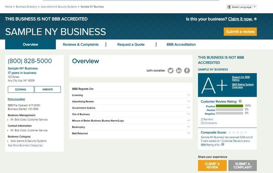 Scraping Business Database Business, Sample
