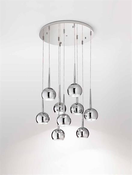 Affralux bol lampadario da soggiorno moderno 9 luci sfere cromo ...