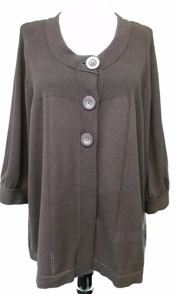 H M Womens Plus Cardigan Sweater Knit Jacket Brown 34 Sleeve