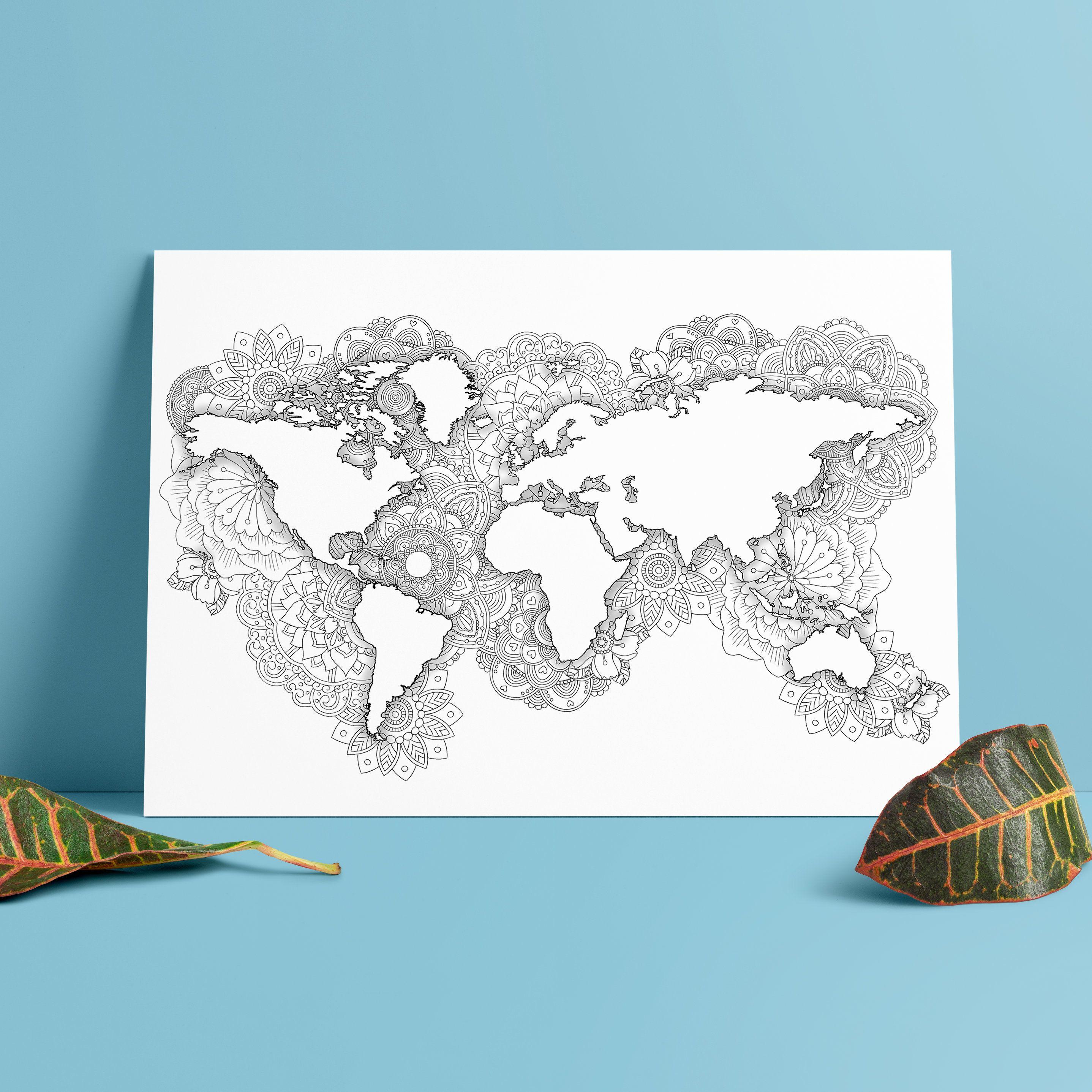 Mandala World Map Poster Minimalist World Map Zentangle With