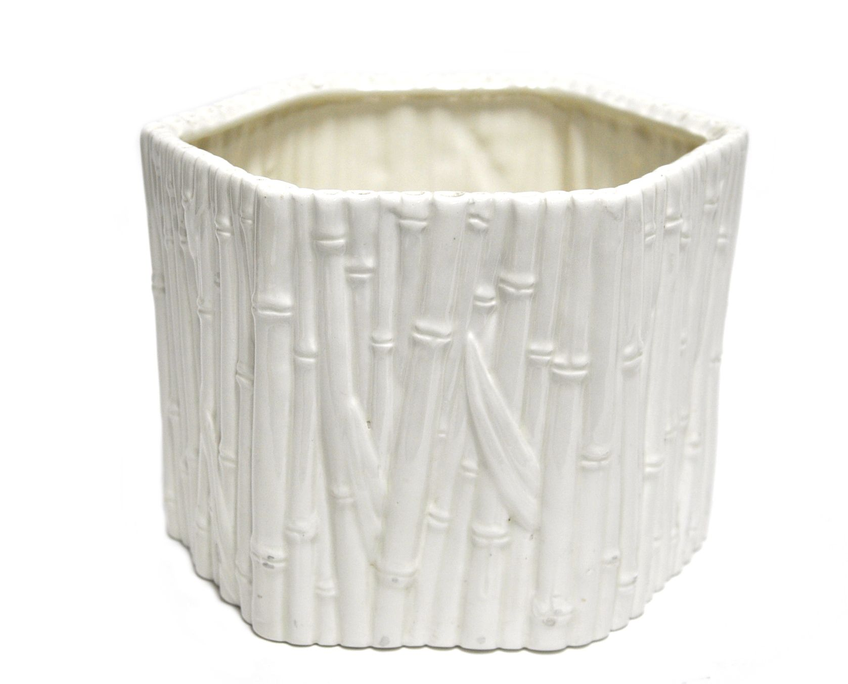 Oversized Vintage Octagonal Ceramic Faux Bamboo Cachepot