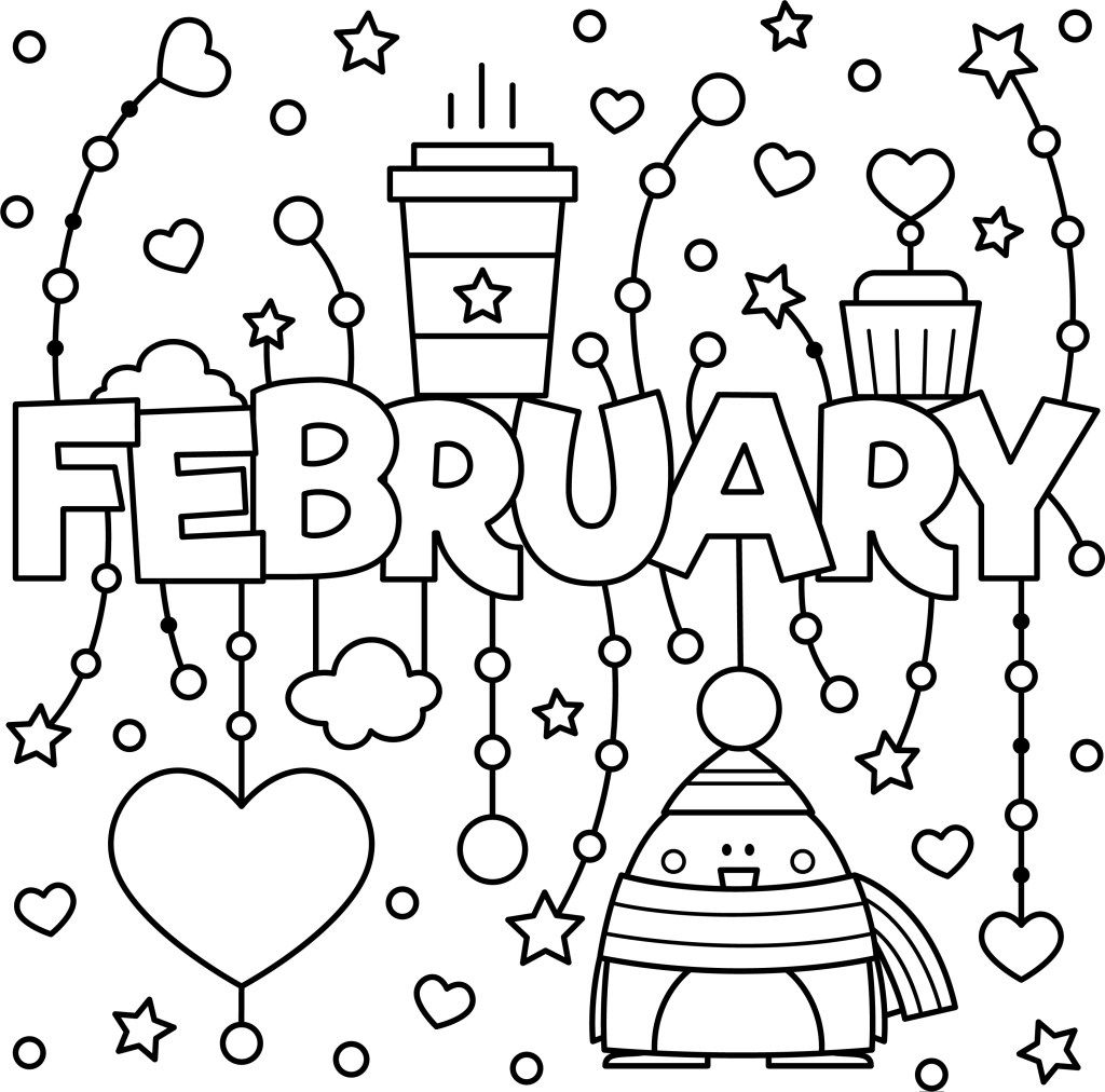 Enjoy This Fun February Colouring Page To Kick Off A New Month Valentine Coloring Pages Coloring Pages Printable Coloring Pages