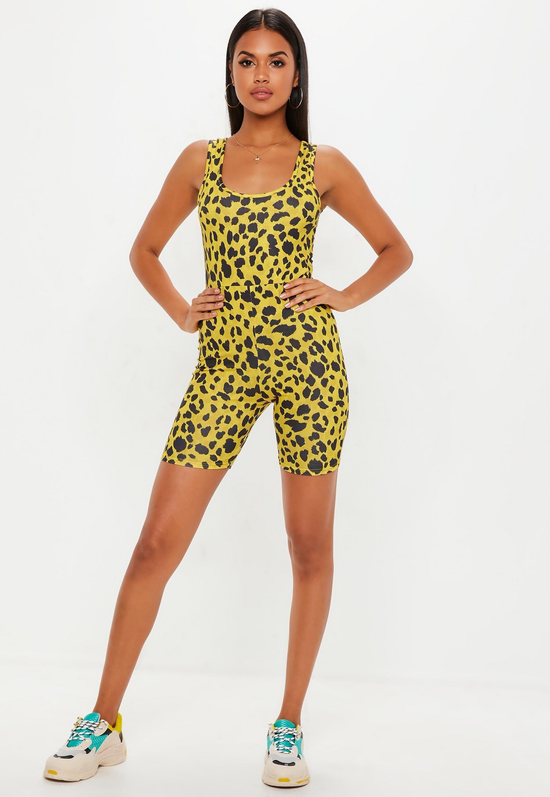 59bbca5494 Yellow Leopard Print Unitard