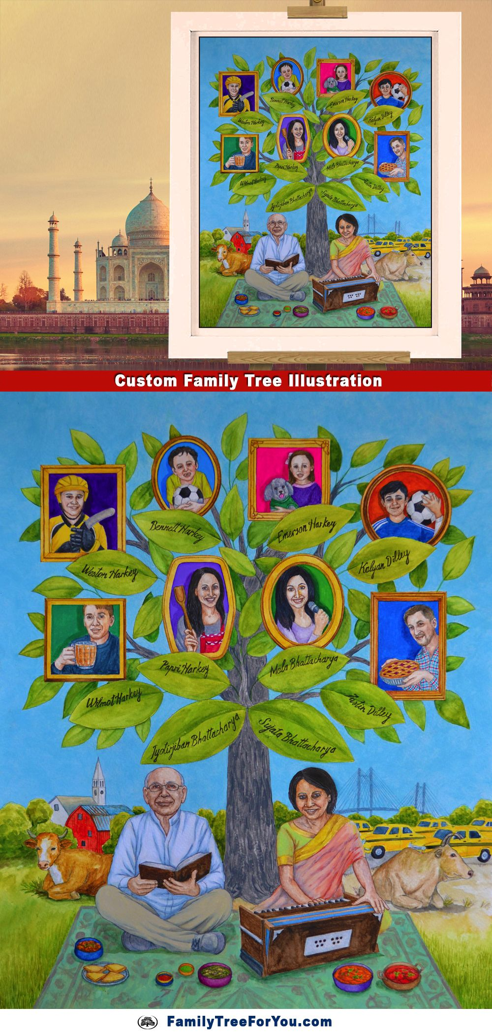Family tree personalized with details about the family's