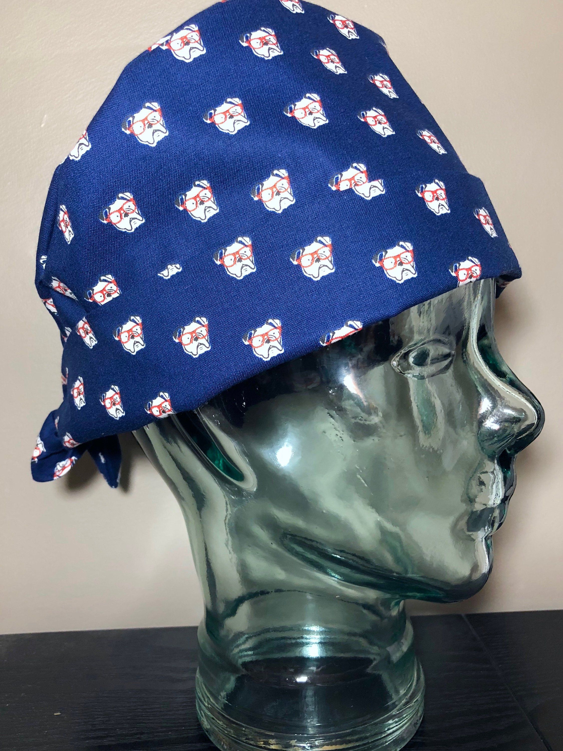 Bulldogs with Glasses on Navy Surgical Scrub Hat 70adca5d59d