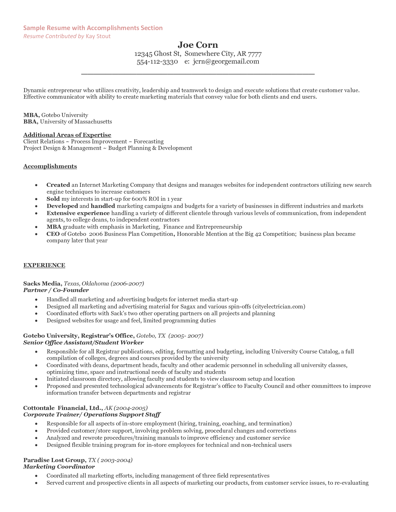 The Entrepreneur Resume and Cover Letter What Should You