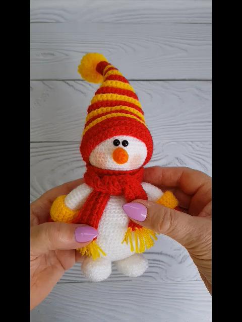 Photo of crochet snowman pattern PDF, Amigurumi Knitted snowman, Snowman Toy Tutoria