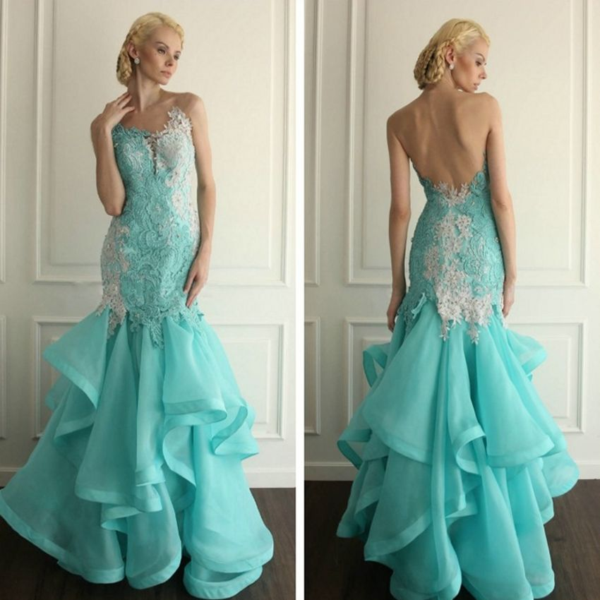 Custom Made Latest New Designs White and Aqua Blue Long Formal Lace ...