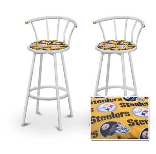 2 Pittsburgh Steelers Nfl Football Themed Specialty Custom White Barstools By The